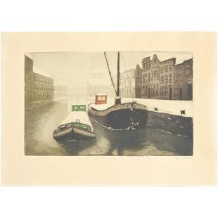 Signed Illegible Lithograph Boats in Canal