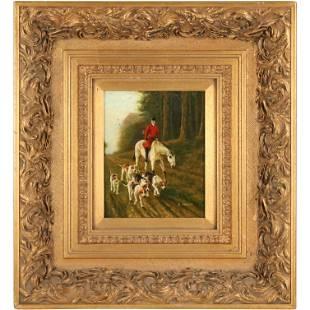 W Hughes, Oil on Wood Panel, English Dogs Hunt Scene