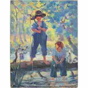 Vintage Kominarsky Mid-century Modern Painting Fishing