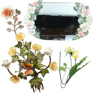 Hollywood Regency 4 Porcelain Flowers and Floral Mirror