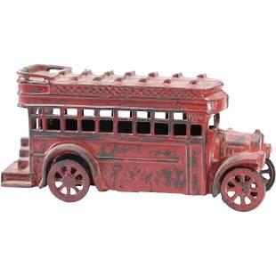 Cast Iron Red Bus Toy - Original Paint Finish