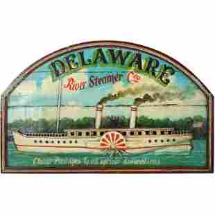 Delaware River Steamer Boat Hand Paint Wood Sign
