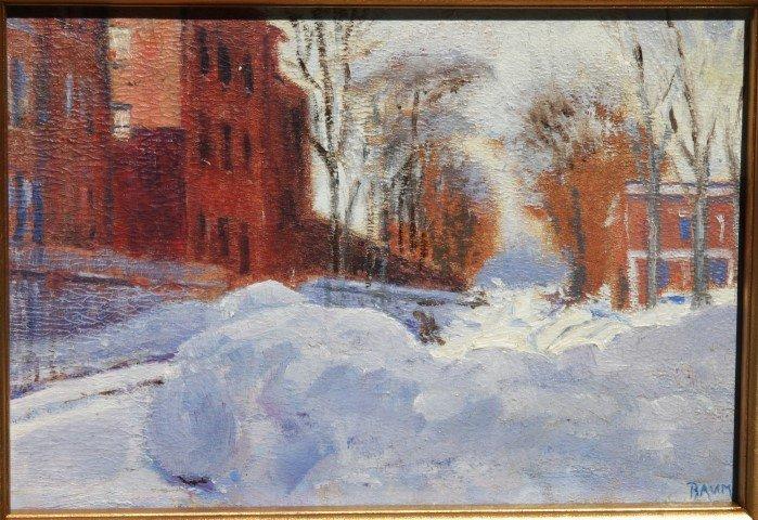 WALTER EMERSON BAUM, o/b, Lambertville NJ, Winter scene