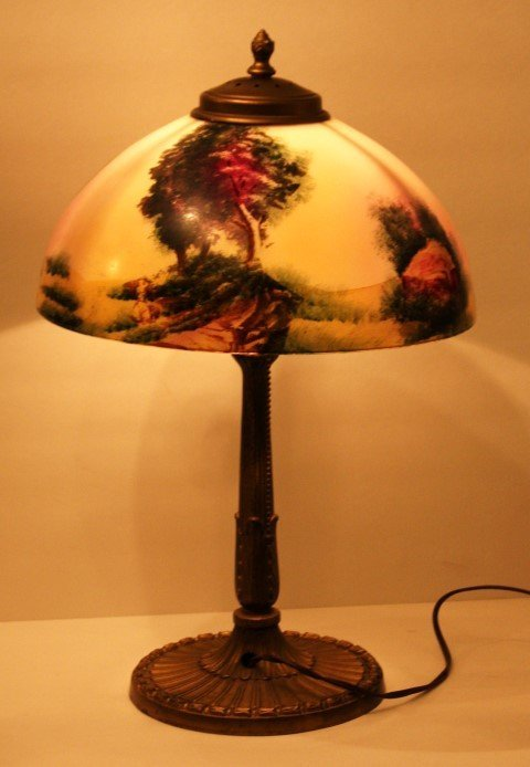 """PITTSBURGH LAMP, OBVERSE SCENIC GLASS SHADE 12"""" dia."""