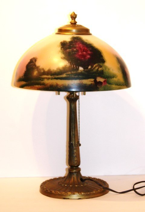 """PITTSBURGH LAMP, OBVERSE SCENIC GLASS SHADE 12"""" dia. - 2"""