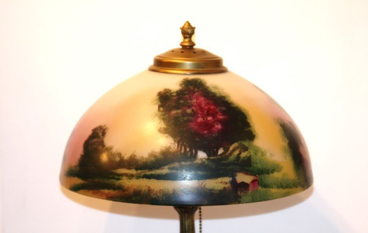 "PITTSBURGH LAMP, OBVERSE SCENIC GLASS SHADE 12"" dia. - 3"