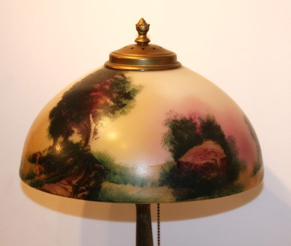"PITTSBURGH LAMP, OBVERSE SCENIC GLASS SHADE 12"" dia. - 7"