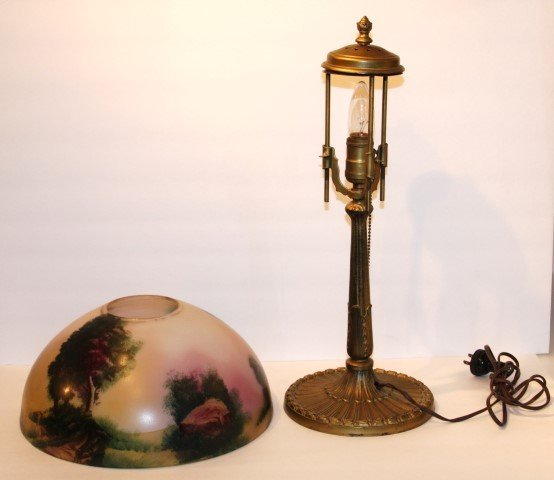 "PITTSBURGH LAMP, OBVERSE SCENIC GLASS SHADE 12"" dia. - 8"