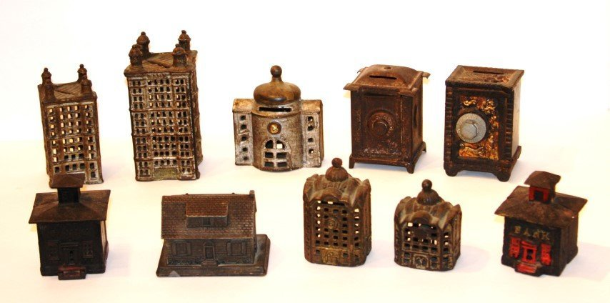 10 ASSORTED ANTIQUE STILL BANKS - BUILDINGS