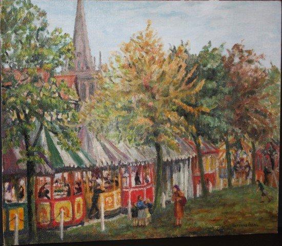 GIFFORD BEAL, 1879-1956 , oil/b, CHURCH BAZAAR