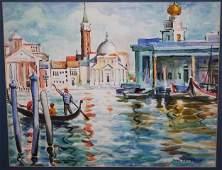 JANE PETERSON, 1876-1965, w/c, VENETIAN CANAL SCENE