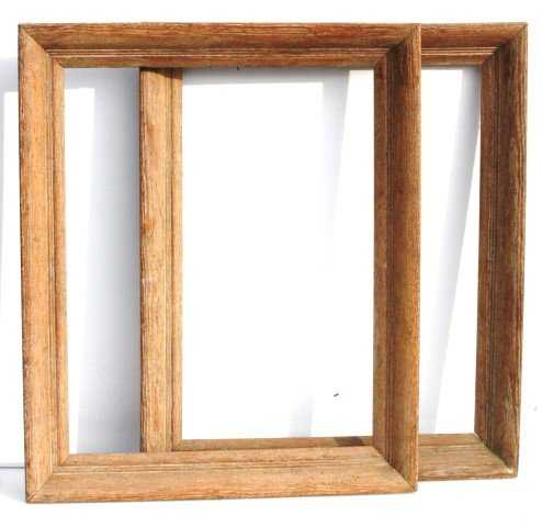 matching pair vintage PICKLED OAK FRAMES 16 x 20