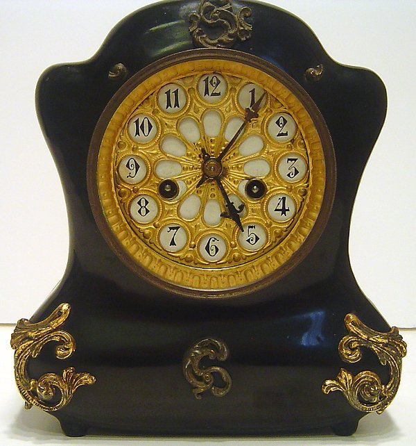 4: BRONZE MOUNTED BLACK LACQUER MANTEL CLOCK SIGNED