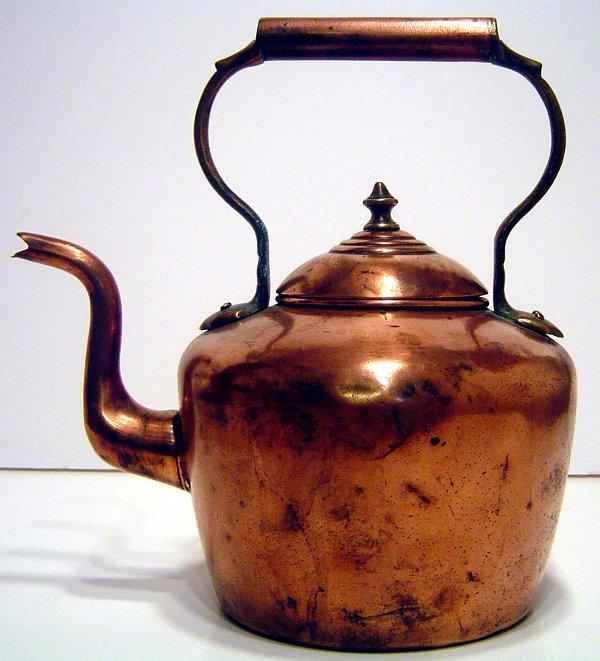 5: 19TH. CENTURY COPPER GOOSE NECK TEA POT