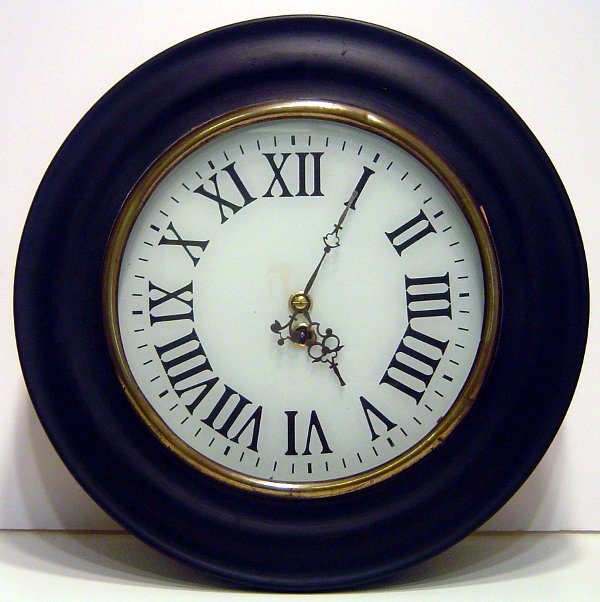 6: 19TH. CENTURY FRENCH WALL CLOCK WITH REVERSE PAINTED