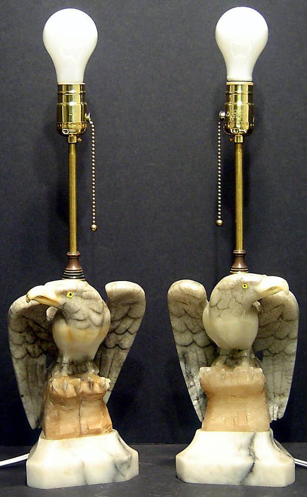 22: PAIR OF MARBLE EAGLES SET AS TABLE LAMPS