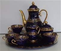 299: German porcelain cobalt blue and hand gold stencil