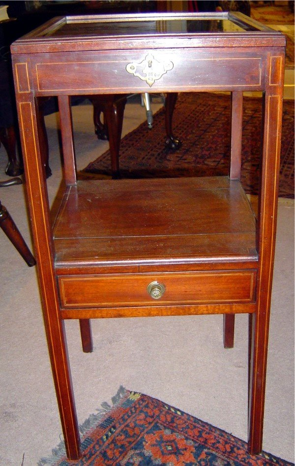 3002: 19TH C. AMERICAN MAHOGANY VETRINE WITH INLAY ON L