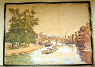 19TH C. ENGLISH WATERCOLOR ON BOARD, SIGNED F.A.