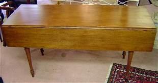20TH C. MAHOGANY SHERATON DROP LEAF HARVEST TABLE