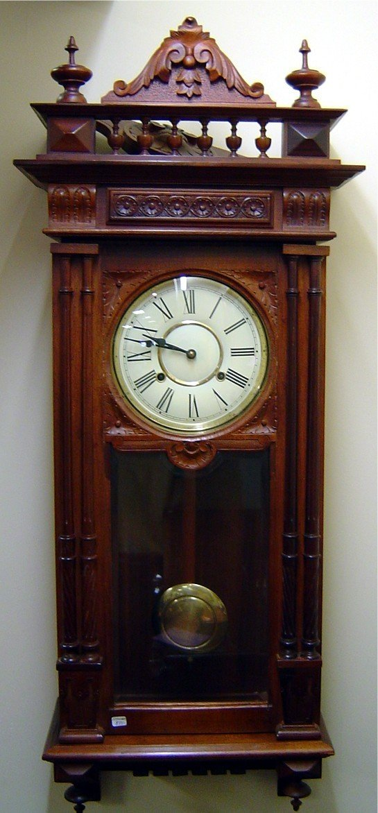3009:  WALNUT REGULATOR CLOCK, 2 KEY WINDS, TIME