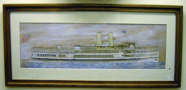 3010: 19TH C WATERCOLOR PASSENGER STEAMSHIP RIVER DAYLI