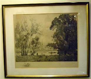 20TH C. ETCHING, SIGNED G. MEILLEULY 1910 LANDSCA
