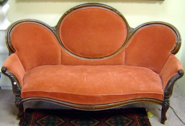 3012: 19TH C VICTORIAN WALNUT CAMEO BACK SOFA. CARVED F