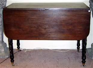 19TH C. SHERATON MAHOGANY DROP LEAF TABLE, TURNED