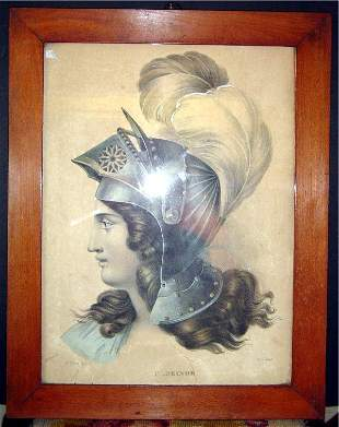 """18TH C. HANDCOLORED ENGRAVING TITLED """"CLORINDE"""" P"""