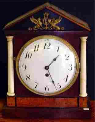 19TH C WALNUT KEY WIND MANTLE CLOCK WITH MARBLE C