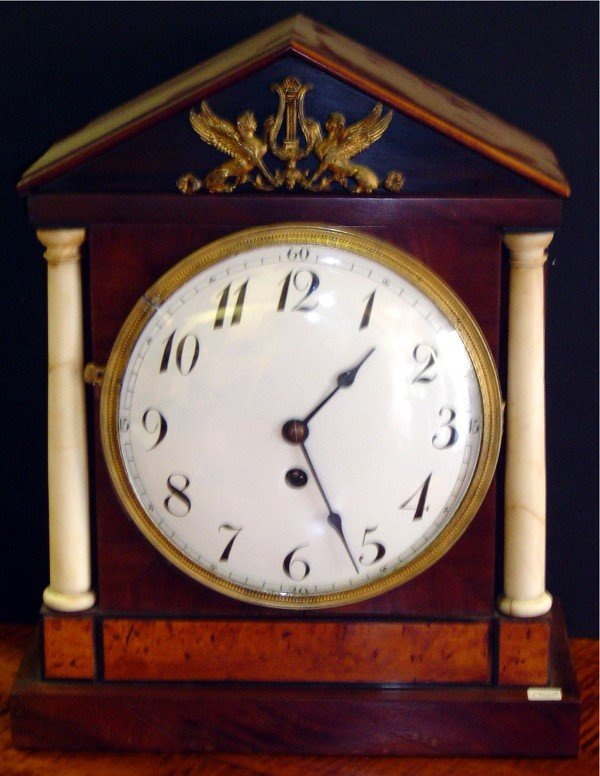 3017: 19TH C WALNUT KEY WIND MANTLE CLOCK WITH MARBLE C