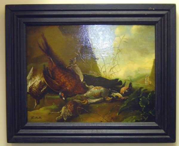 3018: 20TH C OIL ON BOARD, SIGNED R KULL. 5 DEAD BIRDS