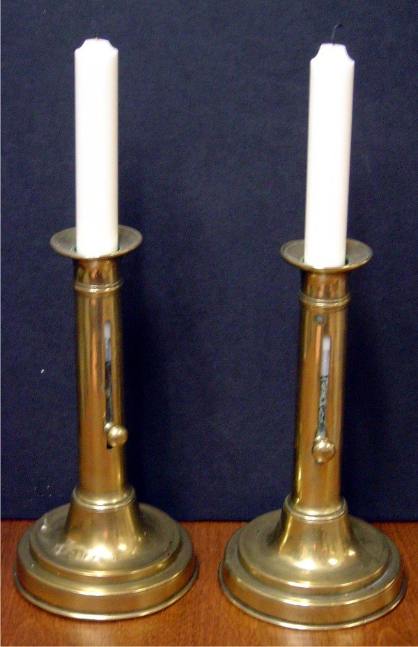 3019: 19TH C. PR. PUSH UP ENGLISH CANDLESTICKS.  THESE