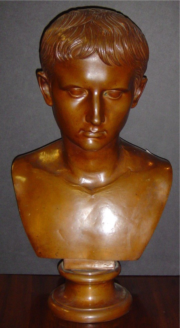 3022: 19TH C. COPPER BUST OF AUGUSTUS THE YOUNG, SIGNED
