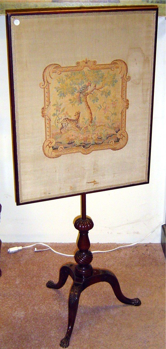3023: 19TH C. NEEDLEPOINT ON SILK FIREPLACE SCREEN, HAI