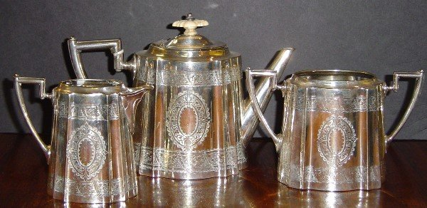 3024: 19TH C ENGLISH CONTINENTAL STERLING TEA SET HALLM