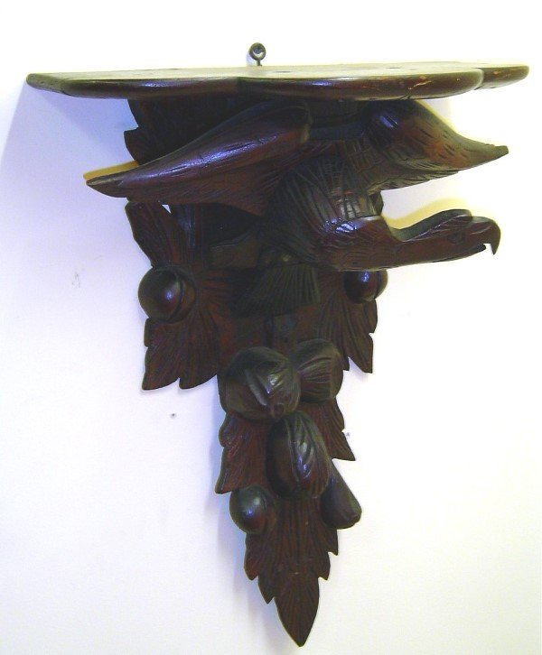 3067: 19TH C. BLACK FOREST WALNUT SHELF EAGLE PERCHED O