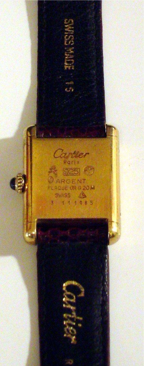 3082: CARTIER PARIS LADIES TANK WATCH. 925 ARGENT. BACK - 2