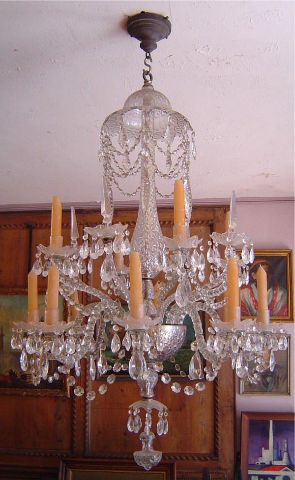 3089: ENGLISH GEORGIAN CUT GLASS CRYSTAL CHANDELIER. LA