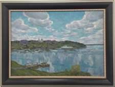 Antique Russian Soviet Impressionism Painting Oil