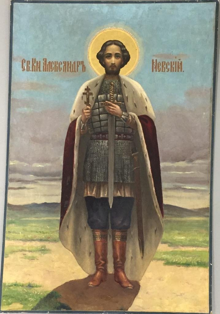 Russian Icon St. Alexander Nevski , Handpainted early