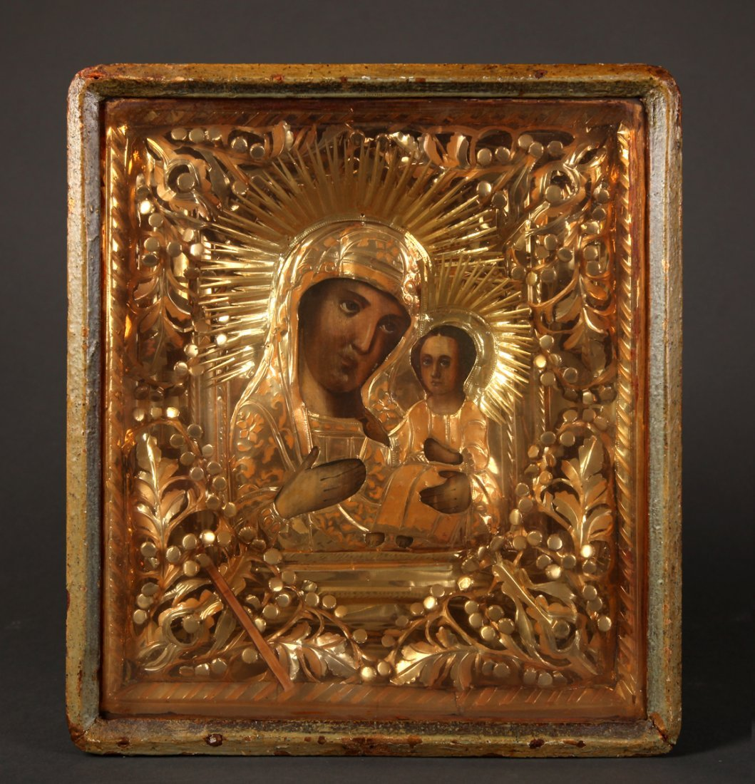 Antique Russian Icon in Shadowbox