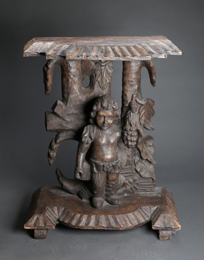 Antique French (?) Carved Figural Table