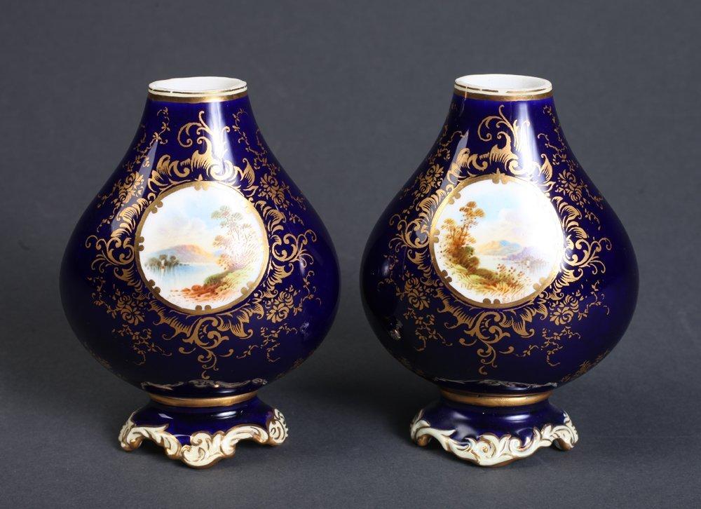 Pair of Coalport England Gilded Scene Vases