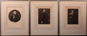 3 Framed Steel Engraving Portraits