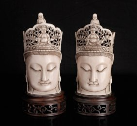 Pair Of Chinese Carved Ivory Buddha Heads