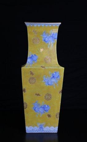 Chinese Saffron Porcelain Vase