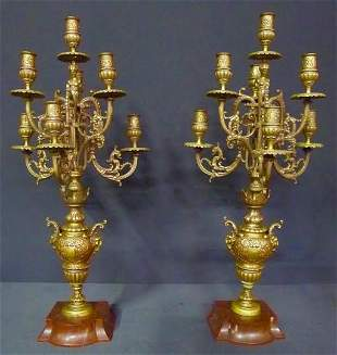 Large Pair of 19th Century Bronze and Marble figural