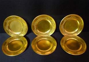 """6 Berlin gold gilt plates 8 1/4""""diameter"""